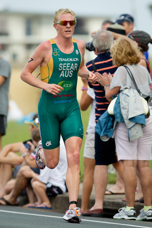 James Seear - 2012 Subaru Mooloolaba Men's ITU Triathlon World Cup; Mooloolaba, Sunshine Coast, Queensland, Australia; 24 March 2012. Photos by Des Thureson - disci.smugmug.com.