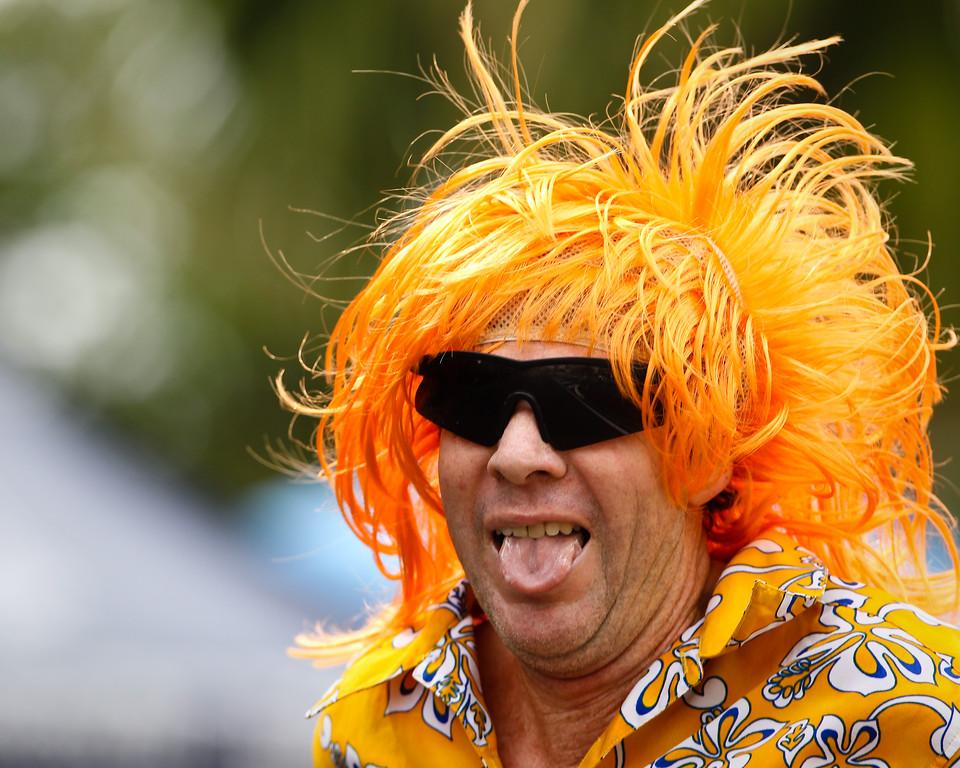 "Orange Hair & ""In The Spirit"" Costume - Run Leg - 2012 Mooloolaba Triathlon; Sunshine Coast, Queensland, Australia; Sunday 25 March 2012. Photos by Des Thureson - disci.smugmug.com."