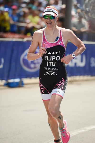 """Michelle Flipo - 2015 Mooloolaba ITU Triathlon World Cup Women - 2015 Mooloolaba Triathlon Multi Sport Festival, Sunshine Coast, Qld, AUS; Saturday 14 March 2015. Photos by Des Thureson - <a href=""""http://disci.smugmug.com"""">http://disci.smugmug.com</a>. Camera 1."""
