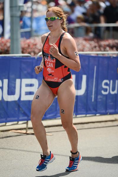 """Sarah anne Brault - 2015 Mooloolaba ITU Triathlon World Cup Women - 2015 Mooloolaba Triathlon Multi Sport Festival, Sunshine Coast, Qld, AUS; Saturday 14 March 2015. Photos by Des Thureson - <a href=""""http://disci.smugmug.com"""">http://disci.smugmug.com</a>. Camera 1."""