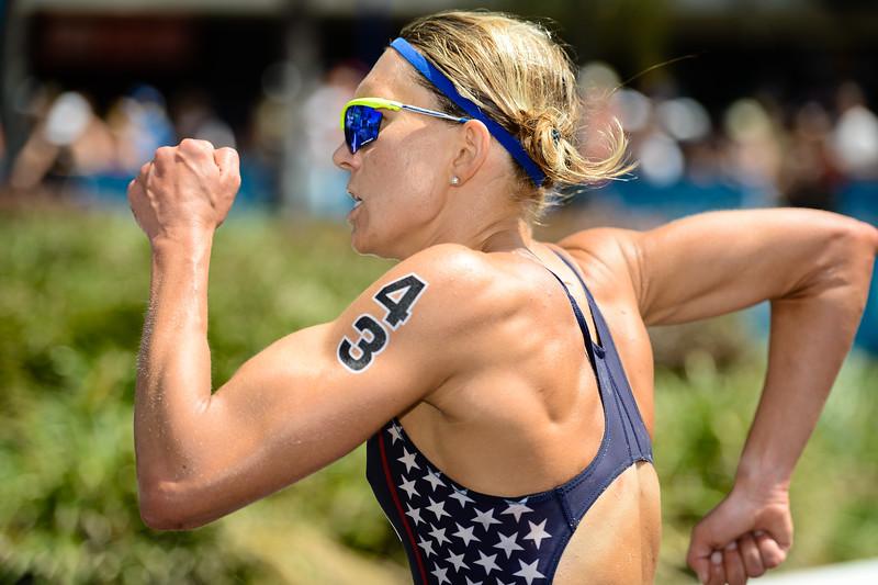 "Renee Tomlin - 2015 Mooloolaba ITU Triathlon World Cup Women - 2015 Mooloolaba Triathlon Multi Sport Festival, Sunshine Coast, Qld, AUS; Saturday 14 March 2015. Photos by Des Thureson - <a href=""http://disci.smugmug.com"">http://disci.smugmug.com</a>. Camera 1."