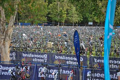 The site between the swim exit & the bike/run start - Legends Team Triathlon, Noosa Multi Sport Festival, Noosa Heads, Sunshine Coast, Queensland, Australia; 30 October 2010.