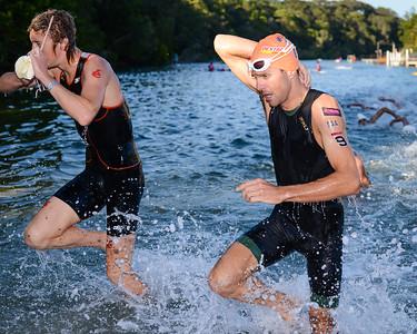 Ben Shaw, Aaron Royle - Swim Leg - 2013 Noosa Triathlon, Noosa Heads, Sunshine Coast, Queensland, Australia; 3 November. Camera 1. Photos by Des Thureson - disci.smugmug.com