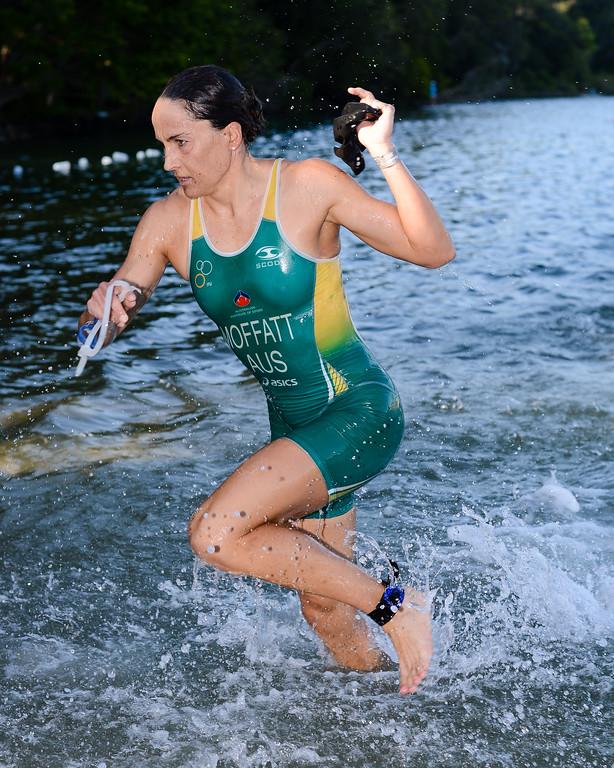 Women's Winner & Olympic Bronze Medallist Emma Moffatt - Swim Leg - 2013 Noosa Triathlon, Noosa Heads, Sunshine Coast, Queensland, Australia; 3 November. Camera 1. Photos by Des Thureson - disci.smugmug.com