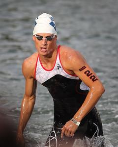 Marc Widmer - Swim Leg - 2014 Noosa Triathlon, Noosa Heads, Sunshine Coast, Queensland, Australia; 2 November. Camera 2. Photos by Des Thureson - disci.smugmug.com
