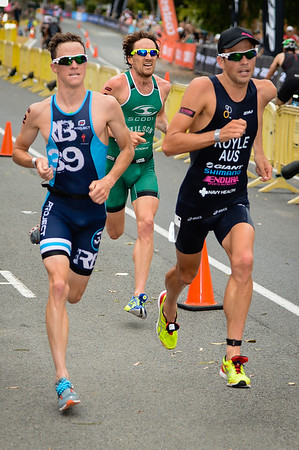 Australia's three 2014 Commonwealth Games men's representatives, Ryan Bailie, Dan Wilson and Aaron Royle - Run Leg - 2014 Noosa Triathlon, Noosa Heads, Sunshine Coast, Queensland, Australia; 2 November. Camera 1. Photos by Des Thureson - disci.smugmug.com