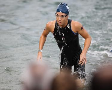 Second-time race winner Ashleigh Gentle - Swim Leg - 2014 Noosa Triathlon, Noosa Heads, Sunshine Coast, Queensland, Australia; 2 November. Camera 2. Photos by Des Thureson - disci.smugmug.com