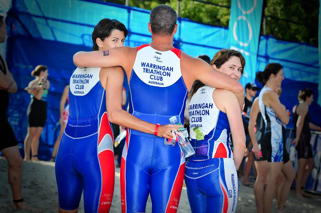 Proud members of the Warringah Triathlon Club - Pre-start, Swim Leg & 1st Transition - Noosa Triathlon, Sunshine Coast, Queensland, Australia; 31 October 2010