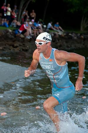 Chris Gemmell - Pre-start, Swim Leg & 1st Transition - Noosa Triathlon, Sunshine Coast, Queensland, Australia; 31 October 2010