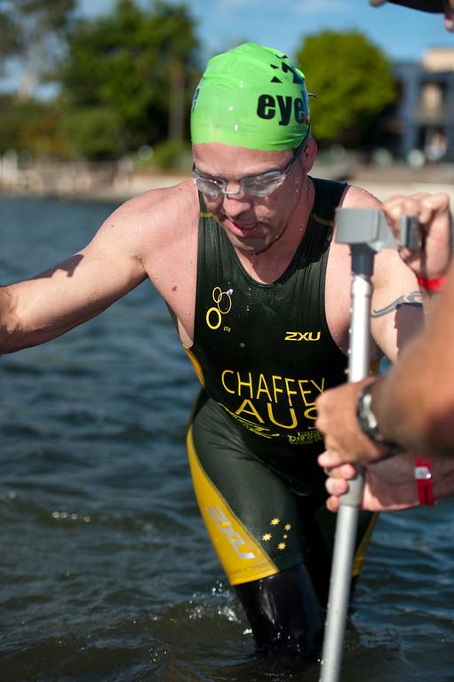 Bill Chaffey - Pre-start, Swim Leg & 1st Transition - Noosa Triathlon, Sunshine Coast, Queensland, Australia; 31 October 2010