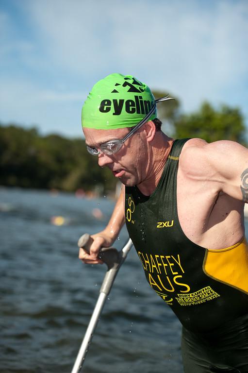 Bill Chaffey, Pre-start, Swim Leg & 1st Transition - Noosa Triathlon, Sunshine Coast, Queensland, Australia; 31 October 2010