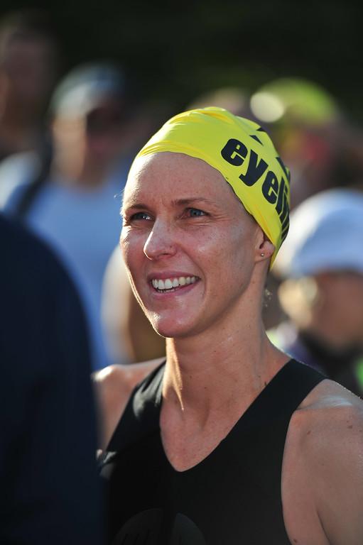 Australian Swimming Olympian Susie Oneal - Pre-start, Swim Leg & 1st Transition - Noosa Triathlon, Sunshine Coast, Queensland, Australia; 31 October 2010