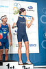 2012 Subaru Mooloolaba Men's ITU Triathlon World Cup; Mooloolaba, Sunshine Coast, Queensland, Australia; 24 March 2012. Photos by Des Thureson - disci.smugmug.com.  David Hauss. Post Race.  Winner Laurent Vidal & Third Placed David Hauss, (both from France).  The images in this gallery have not been edited / cropped. If you order a print, these images will be edited / corrected / cropped before being printed. Des.