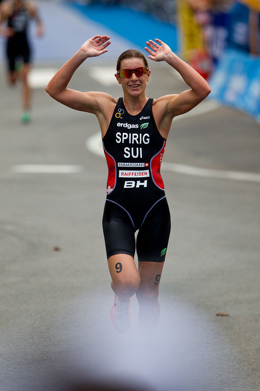 Nicola Spirig, who went on to take gold in the London Olympics - 2012 Subaru Mooloolaba Women's ITU Triathlon World Cup; Mooloolaba, Sunshine Coast, Queensland, Australia; 25 March 2012. Photos by Des Thureson - disci.smugmug.com.   Unedited, uncropped images - If you order a print, these images will be edited / corrected / cropped before being printed. Des.