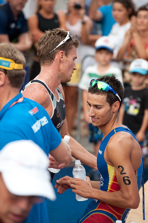 Mario Mola - 2012 Subaru Mooloolaba Men's ITU Triathlon World Cup; Mooloolaba, Sunshine Coast, Queensland, Australia; 24 March 2012. Photos by Des Thureson - disci.smugmug.com.  Post Race.  The images in this gallery have not been edited / cropped. If you order a print, these images will be edited / corrected / cropped before being printed. Des.