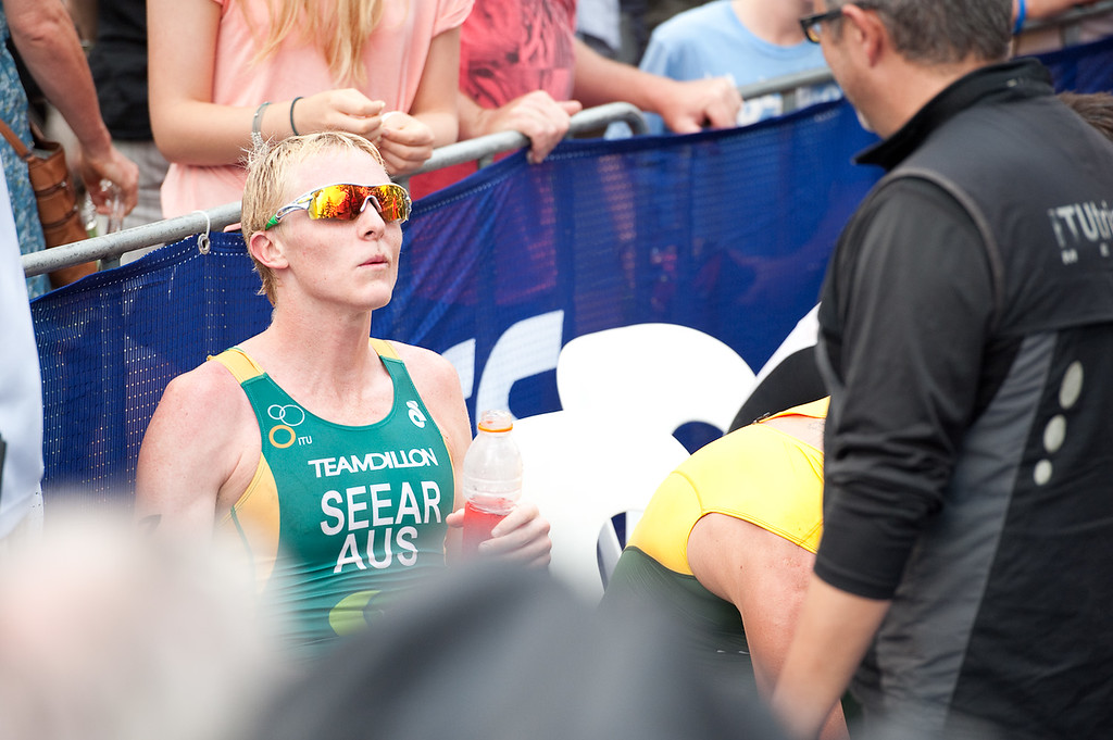 James Seear chats with Delly Carr - 2012 Subaru Mooloolaba Men's ITU Triathlon World Cup; Mooloolaba, Sunshine Coast, Queensland, Australia; 24 March 2012. Photos by Des Thureson - disci.smugmug.com.  Post Race.  The images in this gallery have not been edited / cropped. If you order a print, these images will be edited / corrected / cropped before being printed. Des.