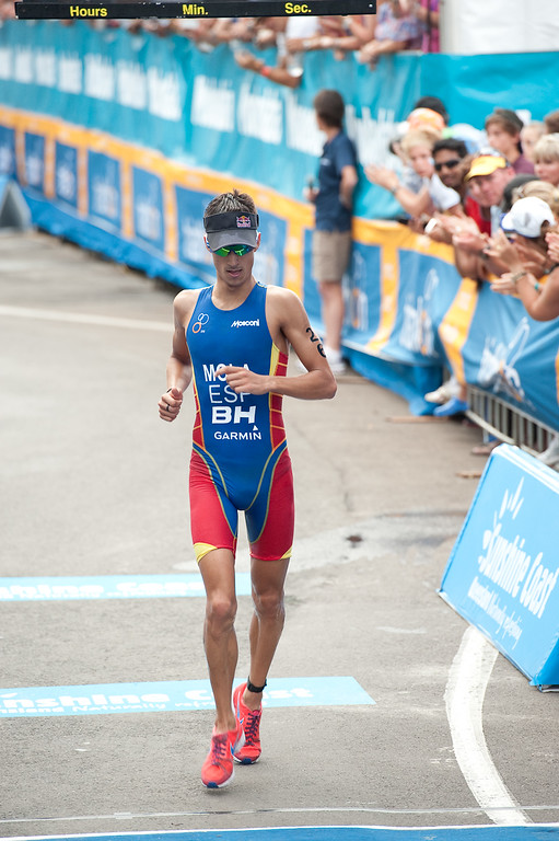 Mario Mola - 2012 Subaru Mooloolaba Men's ITU Triathlon World Cup; Mooloolaba, Sunshine Coast, Queensland, Australia; 24 March 2012. Photos by Des Thureson - disci.smugmug.com.  Finish Line.  The images in this gallery have not been edited / cropped. If you order a print, these images will be edited / corrected / cropped before being printed. Des.