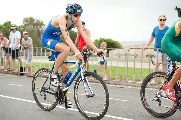 Davide Uccellari - 2012 Subaru Mooloolaba Men's ITU Triathlon World Cup; Mooloolaba, Sunshine Coast, Queensland, Australia; 24 March 2012. Photos by Des Thureson - disci.smugmug.com.  Bike Leg.  The images in this gallery have not been edited / cropped. If you order a print, these images will be edited / corrected / cropped before being printed. Des.