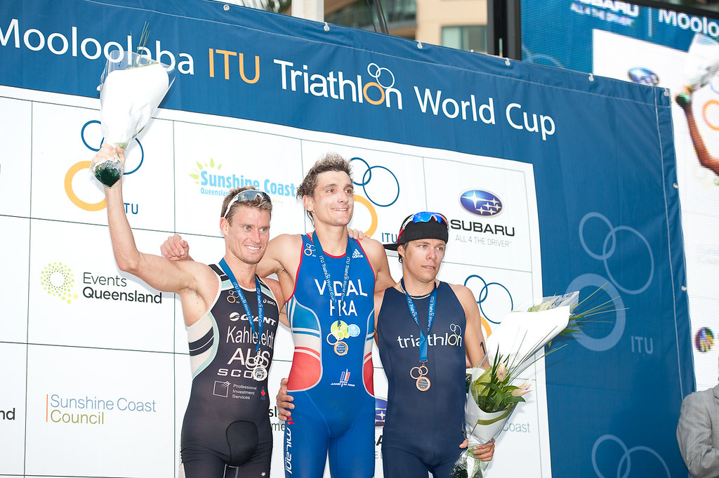 2012 Subaru Mooloolaba Men's ITU Triathlon World Cup; Mooloolaba, Sunshine Coast, Queensland, Australia; 24 March 2012. Photos by Des Thureson - disci.smugmug.com.  Top Three; Podium; Presentations; Medal Ceremony.  Laurent Vidal, Brad Kahlefeldt, David Hauss. Post Race.  The images in this gallery have not been edited / cropped. If you order a print, these images will be edited / corrected / cropped before being printed. Des.