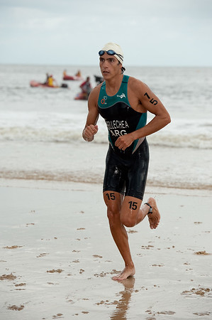 Gonzalo Raul Tellechea - 2012 Subaru Mooloolaba Men's ITU Triathlon World Cup; Mooloolaba, Sunshine Coast, Queensland, Australia; 24 March 2012. Photos by Des Thureson - disci.smugmug.com.  Swim Leg.  Swim Exit. Surf Exit.  The images in this gallery have not been edited / cropped. If you order a print, these images will be edited / corrected / cropped before being printed. Des.