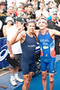 2012 Subaru Mooloolaba Men's ITU Triathlon World Cup; Mooloolaba, Sunshine Coast, Queensland, Australia; 24 March 2012. Photos by Des Thureson - disci.smugmug.com.  Post Race.  Winner Laurent Vidal & Third Placed David Hauss, (both from France).  The images in this gallery have not been edited / cropped. If you order a print, these images will be edited / corrected / cropped before being printed. Des.