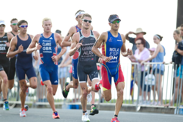 Brad Kahlefeldt, Mario Mola - 2012 Subaru Mooloolaba Men's ITU Triathlon World Cup; Mooloolaba, Sunshine Coast, Queensland, Australia; 24 March 2012. Photos by Des Thureson - disci.smugmug.com.  Unedited, uncropped images - If you order a print, these images will be edited / corrected / cropped before being printed. Des.