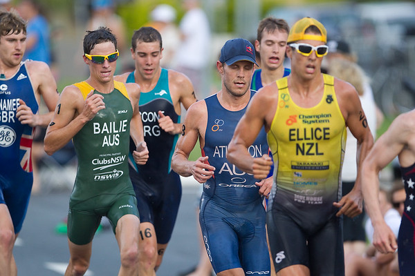 2012 Subaru Mooloolaba Men's ITU Triathlon World Cup; Mooloolaba, Sunshine Coast, Queensland, Australia; 24 March 2012. Photos by Des Thureson - disci.smugmug.com.  Courtney Atkinson. Clark Ellice.  Ryan Bailie.   Unedited, uncropped images - If you order a print, these images will be edited / corrected / cropped before being printed. Des.