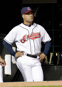 Cleveland Indians manager Manny Acta watches during the eighth inning in a baseball game against the Kansas City Royals, Thursday, Sept. 23, 2010, in Cleveland. (AP Photo/Tony Dejak)