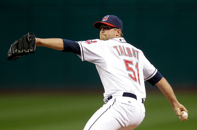 Cleveland Indians starting pitcher Mitch Talbot delivers in the first inning in a baseball game against the Kansas City Royals, Thursday, Sept. 23, 2010, in Cleveland. (AP Photo/Tony Dejak)