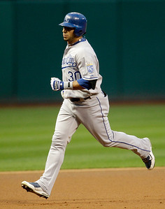 Kansas City Royals' Mike Aviles runs the bases after hitting a solo home run off Cleveland Indians starting pitcher Mitch Talbot in the first inning in a baseball game, Thursday, Sept. 23, 2010, in Cleveland. (AP Photo/Tony Dejak)