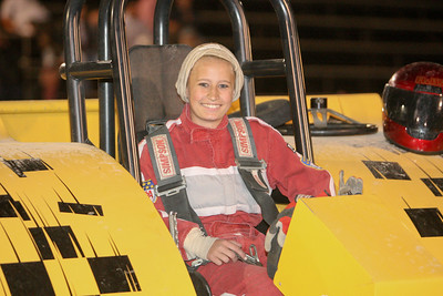 Bridgeport's Jaz Lassetto who is only 14 drives her fathers Jet propelled tractor in her first ever competition pull. She was only told 10 minutes before that her father was going to let her use his tractor.