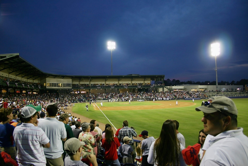Trustmark Park on opening night as seen from right field