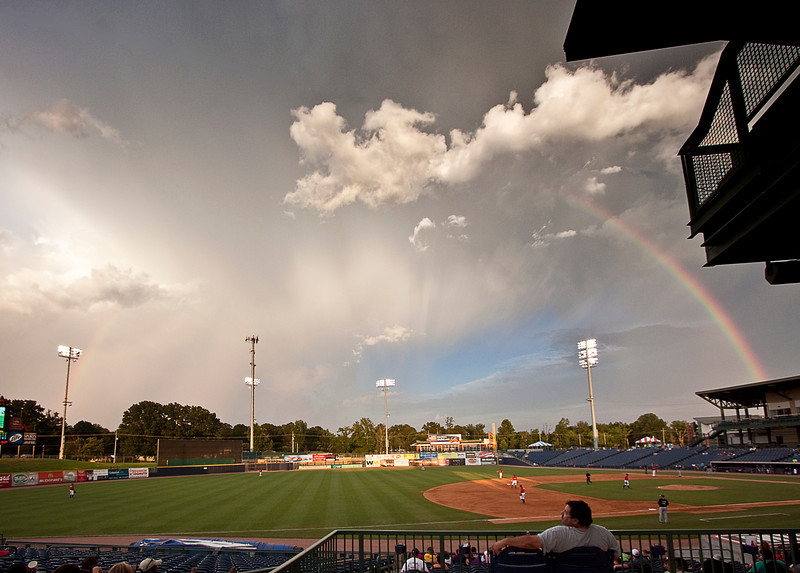 Double rainbow over Trustmark Park