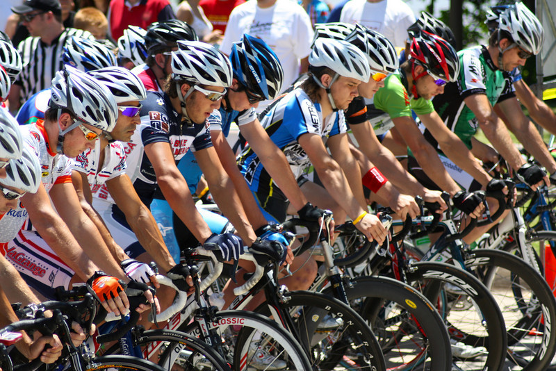 "Male cyclists line up at the starting line for the Men's Pro I race on Sunday at the 2009 Tulsa Tough Competition. More details here: <a href=""http://blog.rjbphoto.com/2009/06/tulsa-tough.html"">http://blog.rjbphoto.com/2009/06/tulsa-tough.html</a>"