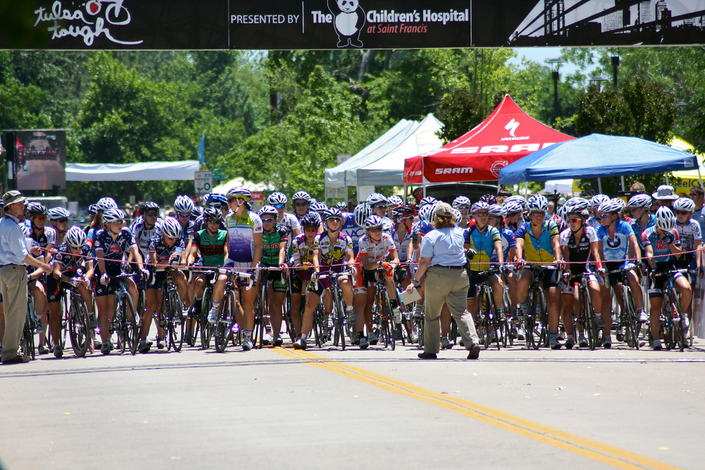 """Women line up at the start of the Woman's Pro Cat I/II race. <a href=""""http://blog.rjbphoto.com/2009/06/tulsa-tough.html"""">http://blog.rjbphoto.com/2009/06/tulsa-tough.html</a>"""