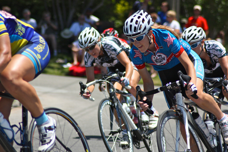 "Women corner around the last turn of the riverside drive course at the 2009 Tulsa Tough cycling competition. <a href=""http://blog.rjbphoto.com/2009/06/tulsa-tough.html"">http://blog.rjbphoto.com/2009/06/tulsa-tough.html</a>"