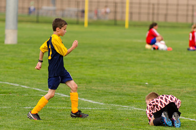 Goalie just saved the shot