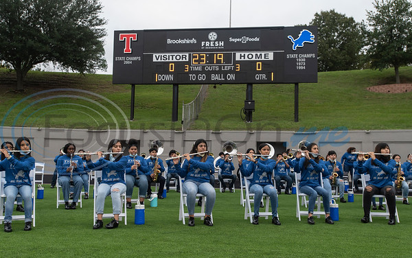 The Tyler High School Big Blue Band warms up in the end zone during the Lions' football season home opener at Christus Trinity Frances Rose Stadium against Texas High School on Thursday, Sept. 24, 2020. The season was delayed a month for District 6A schools due to the coronavirus pandemic. The band was moved from the stands to the end zone to make more room for people attending the games to social distance in the stands.
