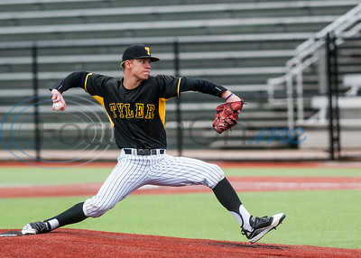 Tyler Junior College's Tom Symonds (31) delivers a pitch from the mound during game action against Mountain View Wednesday, Feb. 11, 2020, at Christus Trinity Mother Frances Mike Carter Field in Tyler. (Cara Campbell/Tyler Morning Telegraph)