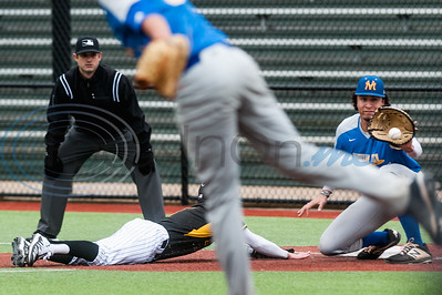 Tyler Junior College's Tyler Linneweber (1) safely dives to first in front of a pick off during game action against Mountain View Wednesday, Feb. 11, 2020, at Christus Trinity Mother Frances Mike Carter Field in Tyler. (Cara Campbell/Tyler Morning Telegraph)