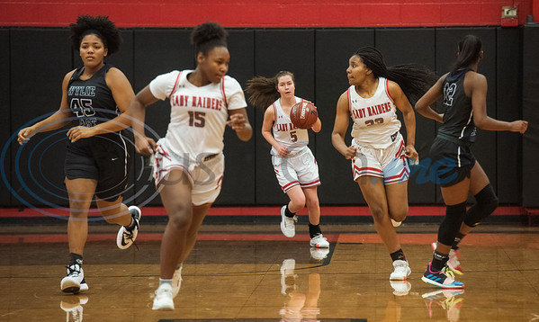 Tyler Lee's Ella Rook (5) controls the ball as the Red Raiders play Wylie East in a basketball game at home on Tuesday, Dec. 31, 2019.  (Sarah A. Miller/Tyler Morning Telegraph)