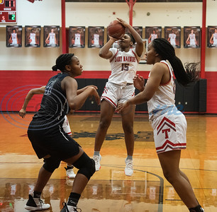 Tyler Lee's Aaliyah Campbell (15) shoots the ball as the Red Raiders play Wylie East in a basketball game at home on Tuesday, Dec. 31, 2019.  (Sarah A. Miller/Tyler Morning Telegraph)