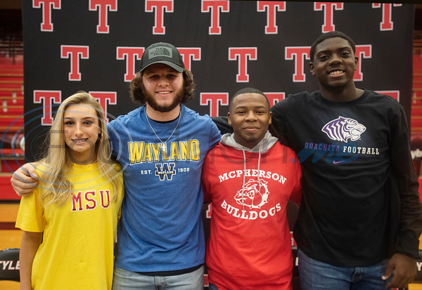 Tyler Lee High School athletes tennis player Lilly Deatherage and football players Seth Leon, Jamichael Turman and Jeremiah Turner attend their collegiate signing ceremony on Wednesday, Feb. 5, 2020.  (Sarah A. Miller/Tyler Morning Telegraph)