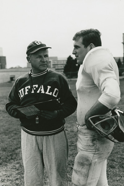 University at Buffalo football coach Dick Offenhamer with Dom Piestrak during the 1963 season.