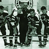 Bill Defoe, John Watson, Coach Coley, Fred Borgemeister, Bill Newman, University at Buffalo hockey, 1967-68.