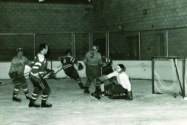 Dan Gourney beats the Ithaca goalie, University at Buffalo hockey, 1960's