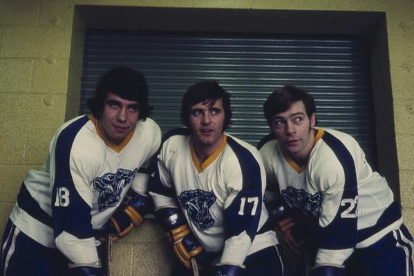 Mike Klym, Dale Dolmage, Ron Maracle, University at Buffalo hockey, 1971-72.
