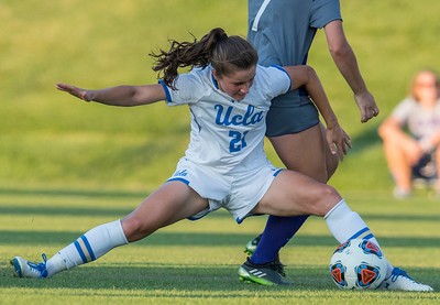 UCLA player Jessie Fleming (21) stretches out for the ball to keep it from losing possession against the Weber State Girls Soccer On September 3, 2017, at the Wildcat Soccer Field in Ogden.