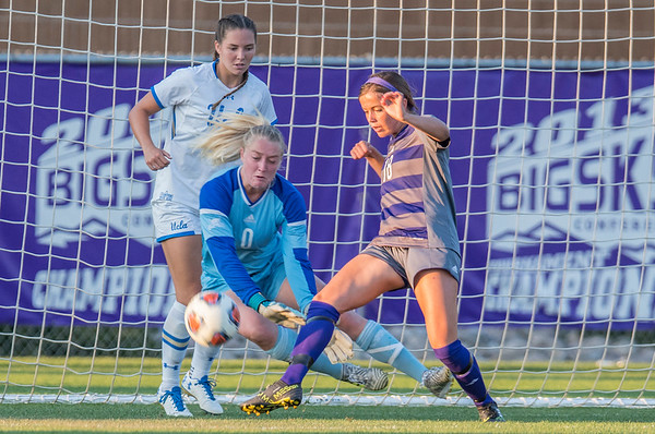 Haley Thomas (18) clears the ball out of the Weber goal as goal keeper Kaytlin Bradley (0) is there for the save. Against UCLA at the Wildcat Soccer Field in Ogden, on September 3, 2017.