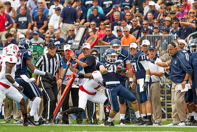 East Hartford CT Sept. 8 2012 Rentschler Field UCONN Huskies  Wide Receiver  31  Nick Williams tries to stay inbounds after a short gain